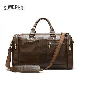 Duffel Bags Suwerer Genuine Leather Men Bag Grande Capacidade Viagem Masculina Retro Portátil Ombro
