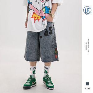 Lawfoo bahar ve yaz 2020 yeni orijinal ulusal moda erkek karikatür çocuk baskı erkekler kullanılan kot şort