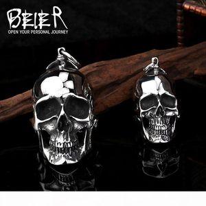 BEIER New Big Stainless Steel 3D Pendant Neckalce For Man Biker Punk Collection Skull Jewelry BP8-042