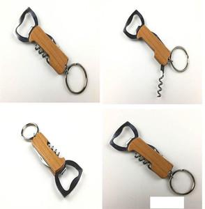 new Outdoor Wine Bottle Opener Keychain Stainless Steel Multifunctionial Wooden Handle Opener Portable Corkscrew Wine Beer Openers dc685