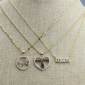 18iinch 10pcs lot New design colorful cz charm necklace,mom's love theme cz component,plated chain necklace cheap wholesale