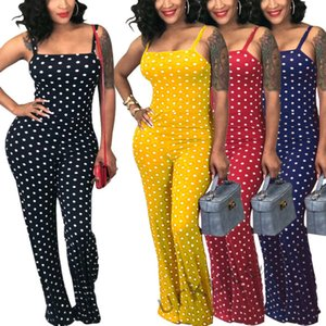 Moda feminina Jumpsuit Dot Sexy magro Spaghetti Strap Polka Dot Imprimir Casual Party Club Longo Bodysuit Playsuit