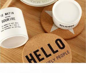 Simple Cork Coupe en bois Tapis géométrique Série Cork en bois dessous de verres de thé tasse de café tapis de table Décor Arts de la table