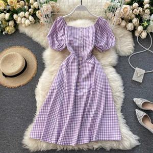 Pulsante SINGRAIN estate delle donne Vintage Plaid Dress coreana Puff Piazza manica collare Un Vestito linea vacanza Beach Stampa