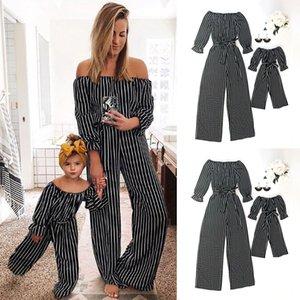 Moda Família Listrada Combinando Roupas Mãe E Filha Roupas Mamãe E Me Romper Mulheres Bebê Menina Casuais Jumpsuit Outfits