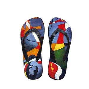 2019 летние пляжные шлепанцы женские тапочки сандалии мода живопись печать Леди туфли на плоской подошве Joan Miro Artist master pieces