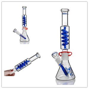 nouveaux bangs en verre Full verre de haute qualité forme spéciale unique avec narguilé droite en gris et bleu