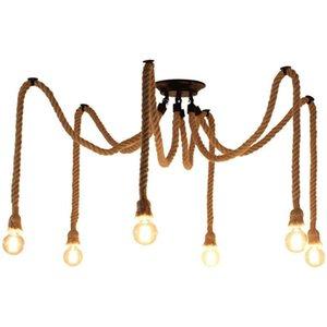 Industrial Spider Loft Hemp Rope Chandeliers Lights for Kitchen Coffee Bar Restaurant Clothes store 4 6 8 Lights