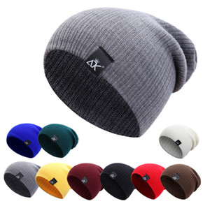 ADK Winter Thick Warm Wool Knitted Unisex Caps Baggy Beanies Mujeres Hombres Soft Slouch Stocking Hat Skullies Beanies Bonnet Ski Hat
