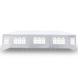 10x30Ft 8 Seiten 2 Türen Außen Canopy Hochzeit Party-Zelt Weiß 3x9m Gazebo Pavillon mit Spiralschläuchen Hot Item Außen Canopy-Party auf dem Seeweg