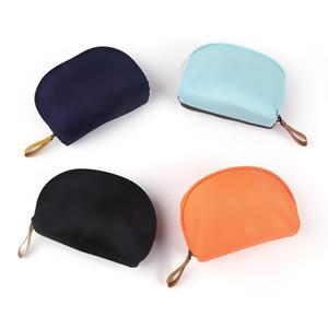 Unisex Nylon semi-circle shell Make Up Bag Conciso Multifunción Cartas Bolsas de Viaje Organizador Portátil Bolso LJJP8