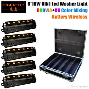 Flightcase Para Pack 5 6x18W bateria 6in1 RGBWA + UV sem fio LED Wall Washer Luz, DMX512 Bateria 7-9 horas de trabalho barra de luz LED