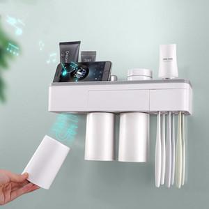 Manyetik Adsorpsiyon Diş Fırçası Tutucu Ters Kupa Duvara Monte Banyo Temizleyici Depolama Raf Banyo Aksesuarları Seti 2size