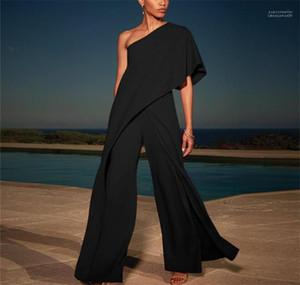 Jumpsuits sólidas de um ombro moda verão calças largas Legged Casual Womens soltos Calças Macacão Mulher designer
