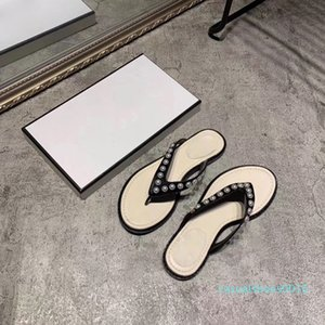 Plain Leather Women Slippers Flat Beading Flip Flop Women Designer Outdoor Slippers Open Toe Flat Slippers Jewels Daily Indoor Shoes c16