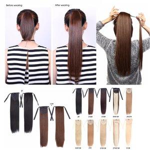 Alileader Clips synthétiques dans les cheveux postiches Ponytails 18 pouces Afro Ponytail Extension pour cheveux courts Styling cheveux raides