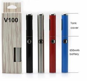 Hibron V100 Battery Charger Kit Vape Pen 650mAh VV Batterie mit Tankabdeckung USB-Kabel Magnetring für Vape Cartridge E-Zigarette