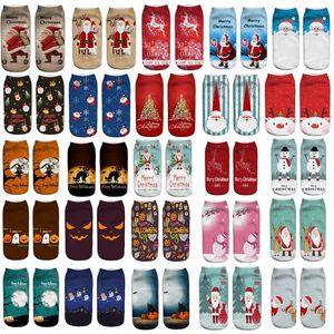 3D печатных носки для Рождество Хэллоуин Санта-Клаус оленей тыквы унисекс короткие лодка носки рождественские украшения Фут крышка носок XD21450
