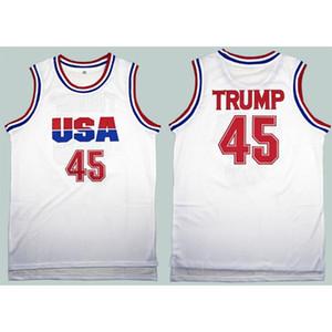 Hombres camiseta de baloncesto 45 Donald Trump Dream Team mejores camisas de la camiseta de baloncesto cosido ropa blanca XD21931