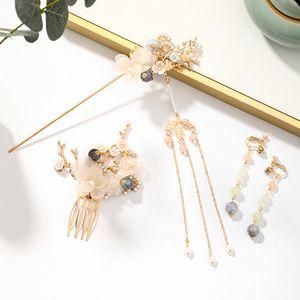Mujeres Horquilla haircomb earclip Conjunto color oro borlas Paso Shake estilo chino Hairpeice joyería Set Accesorios para el cabello XH