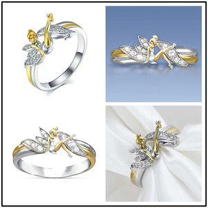 Pequeno Espírito Cor mulher anel de diamante chapeamento 14k Angel Ring