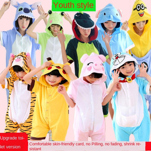 Cotton cotton short-sleeved cartoon jumpsuit female cute animal adult dress children's dress parent-child children costume
