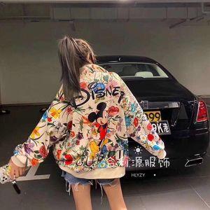 2020 весна и осень дизайн новое женское пальто модный тренд печатный бейсбольный костюм открытый повседневный спортивный свободный кардиган пальто на молнии