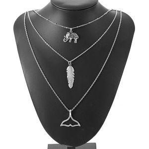 3 capas de Bohemia Beach Elementos elefante pluma de cola de pescado colgante collar de cadena Declaración de la borla Collar