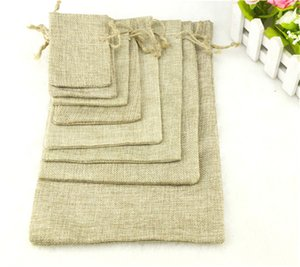 1PC (11 Sizes) Linen Jute Drawstring Gift Bags Sacks Party Favors Packaging Bag Wedding Christmas Candy Gift Bags Party Supplies