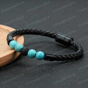 Mens Genuine Leather Lava Rock bead brackets For women Natural turquoise Essential Oil Diffuser stone Magnetic buckle Bangle Fashion Jewelry