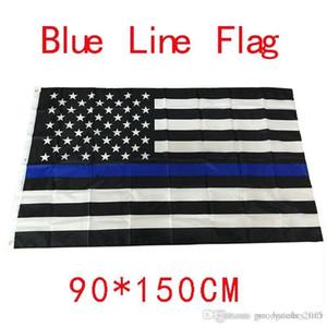 4 Tipos 90 * 150cm BlueLine EUA Polícia Bandeiras 3x5 Bandeira Pé fina de Blue Line EUA Preto, Branco bandeira americana azul e com latão Grommets F737-1