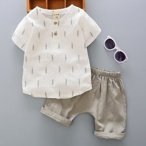 2020 Summer New Korean Children's Clothing Boys Cotton Short-Sleeved Shirt Suit Baby Baby tong xia zhuang Two-Piece Set