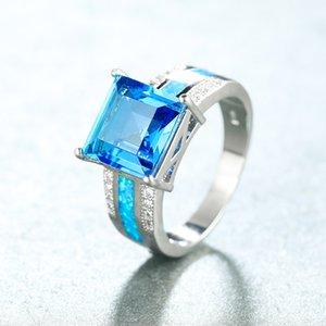 Princess Square pietra di cristallo anello bianco opale di fuoco anelli per le donne fedi d'oro bianco arcobaleno di Zircon Gioielli