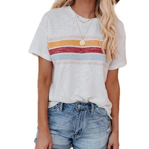 Women Fahion Regular Style Short Sleeve Stripe T-shirt Summer Casual Round Neck Pullover Tops for Ladies