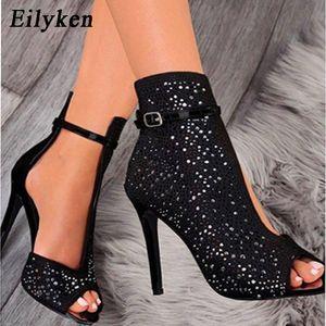 Eilyken 2020 nuova delle donne di cristallo dei sandali cinturini alla caviglia con fibbia tacco copertura trasparente pompe signore sandali del partito calza il formato 35-43 T200322