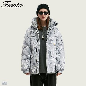 Fionto Männer 2019 Winter New Tide Tarnung Multi-Tasche Magie Aufkleber Männer Stand-Neck Hood Down Jacket