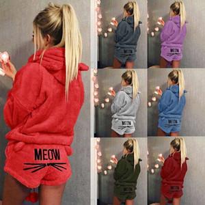 OUYAWEI 3200 # 19 Color de S-5XL Mujeres maullido del gato Conjunto de pijama de franela de paño grueso y suave caliente la ropa de noche Homewear Top + pantalones S-XL