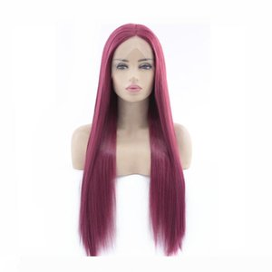 Silky Straight Long Hair Lace Front Wig Sexy Charming Clolor Purple Red Heat Resistant Glueless Synthetic Wig For Women Cosplay Party Wig