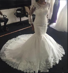 African Long Sleeves Lace Mermaid Wedding Dresses with Beaded Appliques Sweep Train Lace Up Tulle Wedding Bridal Gowns vestidos de novia