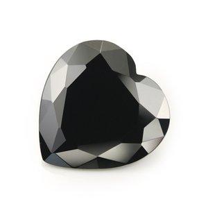 Gros pas cher 100 PCS / sac 9 * 9 mm coeur facettes Cut Shape 5A lâche noir perles de zircon cubique pour bijoux bricolage