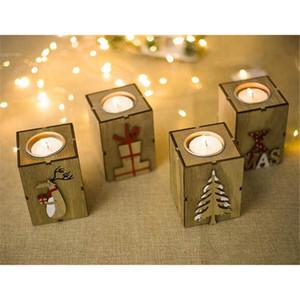 Supporto di candela di Natale LED legno Candeliere Table Lamp For Tea luce della decorazione festa di Natale a casa decorativo Candela Lanterna HH9-A2575