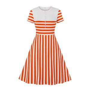 Dress Chemical Fiber Blend Women's Temperament Commute Mid Calf Dresses Pullover High Waist Short Sleeves Natural Color Stripe
