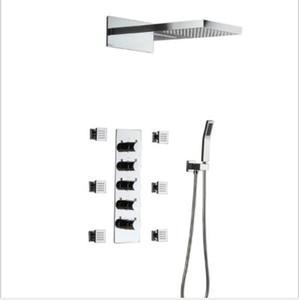 Livraison gratuite 570 * 270MM multi-fonction haut débit douche Set pluie pommeau de douche cascade avec thermostat mélangeur 6 jets de corps douche à main