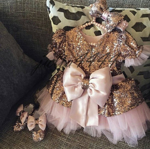 Rose Gold Sequin Flower Girls' Dresses Baby Infant Toddler Baptism Clothes With Short Sleeves Tutu Ball Gowns Birthday Party Dress