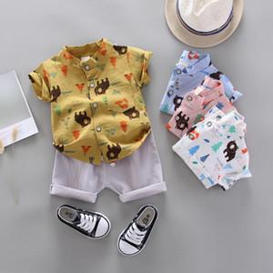 2020 Summer Toddler Baby Kids Boys Cartoon Print T-shirt Shorts Gentlement Set Outfits Casual Children Outfits Clothes Set