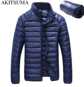 "Зимний пуховик ""Утка"" мужской 90% пуховик тонкий ультра легкий пуховик зимний длинный рукав сплошной карман зимние пальто AKITSUMA"
