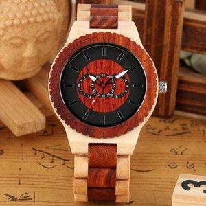 Tres círculos conectados geométrica de madera de arce del reloj del reloj para hombre de madera completa del reloj brazalete de los relojes del cuarzo erkek Kol saati