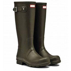 Hot Sale- Boots Women Fetish High Heels Boots Women Knee-high Slip-on Waterproof Low Solid Mujer Rain Boots