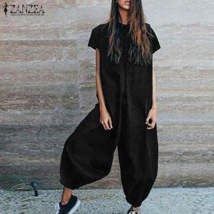 Zanzea Linen Overalls 여성 점프 슈트 Vintage Lantern Pants Combinaison 여성용 반팔 Playsuits Macacao Feminino Pantalon Y19071701