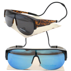 Oversize myopia 045H UV400 polarized outdoor half-rim fit over handy neck hanging fishing sunglasses with hanging silicone band